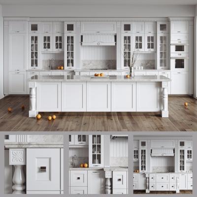 欧式实木厨房橱柜中岛柜组合3D模型【ID:727811336】