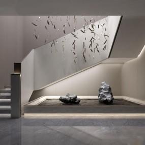 新中式楼梯间3D模型【ID:227885734】