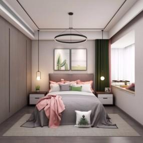 现代卧室3d模型【ID:128414345】