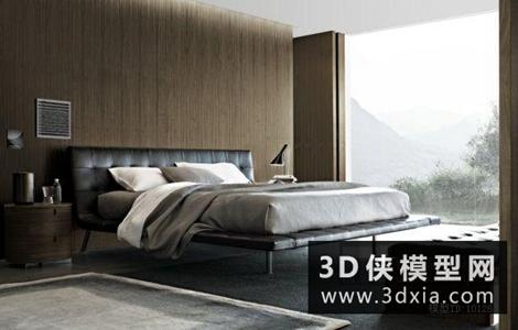 現代風格床國外3D模型【ID:729905907】