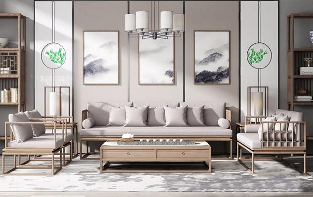 新中式沙发组合 新中式组合沙发 多人沙发 茶几 边几 休闲椅 台灯 吊灯 装饰架 摆件 背景墙 挂画 地毯