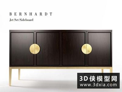 現代中式裝飾柜國外3D模型【ID:829456030】