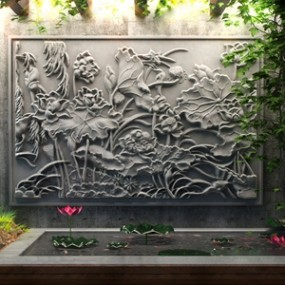中式荷花浮雕3D模型【ID:134898444】