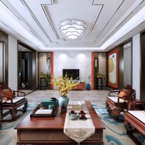新中式客厅餐厅3d模型【ID:128414240】