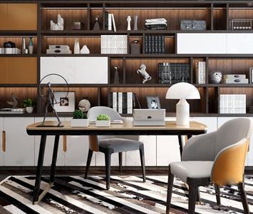 現代輕奢書桌椅組合3D模型【ID:832376983】
