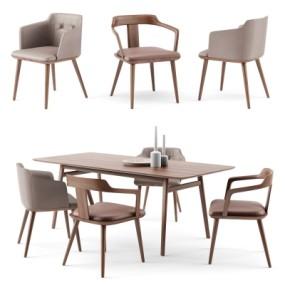 北欧餐桌椅组合3D模型【ID:327791404】