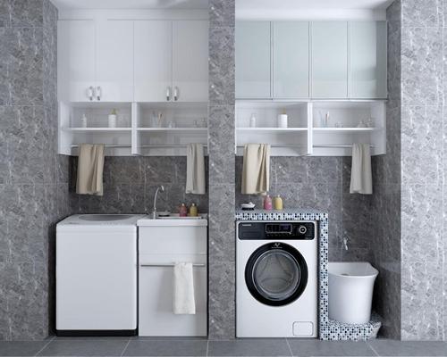 阳台洗衣机柜子组合 现代储物柜 阳台柜子 洗衣机 壁柜