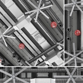 现代工业通风管道风扇消防铃组合3D模型【ID:728467792】