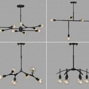 工业风金属灯泡吊灯组合3D模型【ID:527801847】