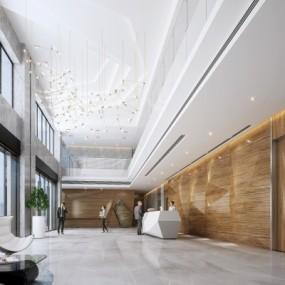 现代办公大堂写字楼3D模型【ID:728470745】