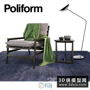 现代木质休闲椅国外3D模型【ID:729315856】