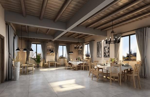现代餐厅3D模型【ID:124895807】