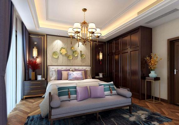 新中式卧室3D模型【ID:427966386】