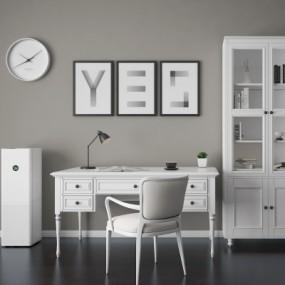 美式书桌椅书柜组合3D模型【ID:128414961】