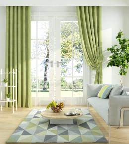 现代双人沙发窗帘组合3D模型【ID:636237513】