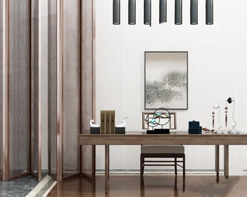 新中式書桌椅屏風擺件組合3D模型【ID:327935775】