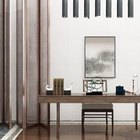 新中式书桌椅屏风摆件组合3D模型【ID:327935775】