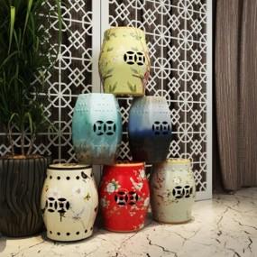陶瓷鼓凳3D模型【ID:427941343】