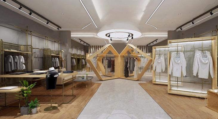 现代服装展厅3D模型【ID:528286470】
