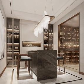現代輕奢地下室酒窖品酒區3d模型【ID:547404997】