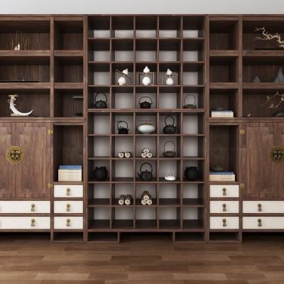 中式實木裝飾柜擺件組合3D模型【ID:927833261】