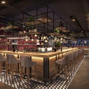 工业风自然原生态厂房酒吧3D模型【ID:427976416】