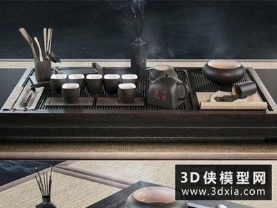 中式茶具國外3D模型【ID:929402811】