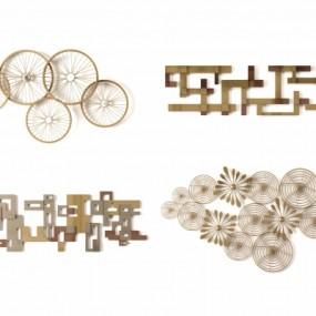 现代轻奢金属挂件墙面装饰挂件组合3D模型【ID:227782286】