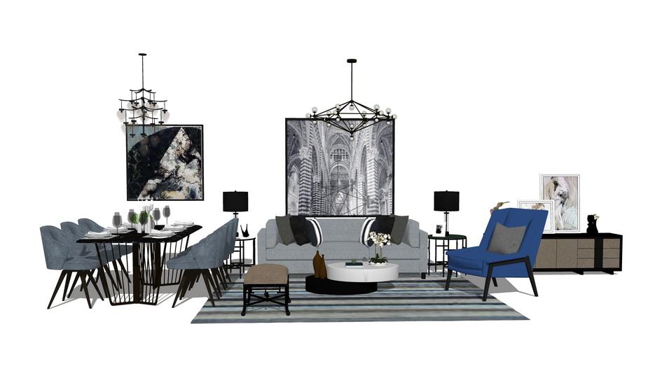 現代風格客廳餐廳家具組合SU模型【ID:737103682】