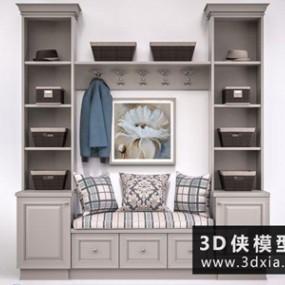 欧式鞋柜国外3D模型【ID:829523048】