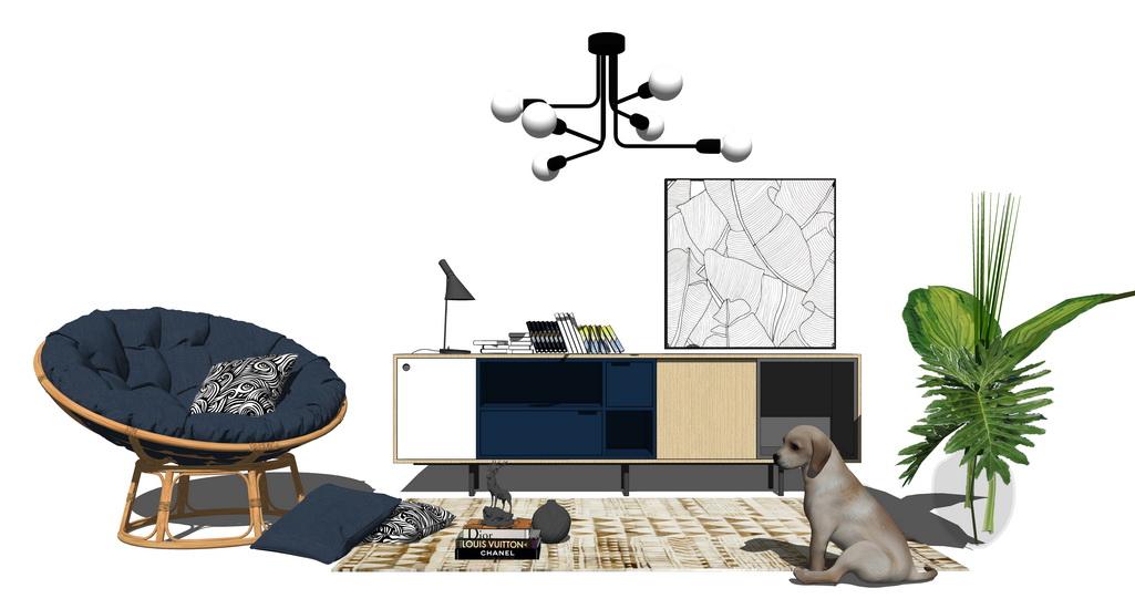 北欧风格客厅家具组合SU模型【ID:737103689】