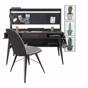 现代书桌椅3D模型【ID:128413977】