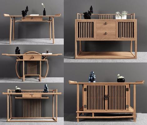 新中式木质玄关台玄关柜组合3D模型【ID:928196176】