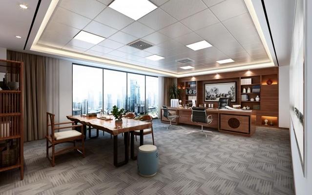 新中式辦公室3D模型【ID:728069405】