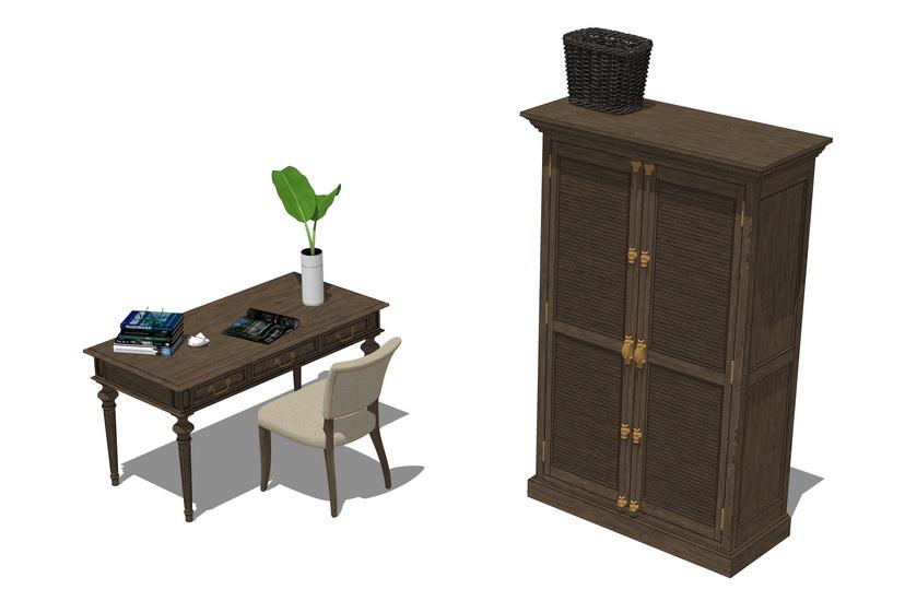 古典书桌书柜组合SU模型【ID:637104711】