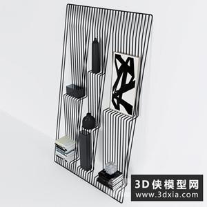 现代铁丝装饰柜国外3D模型【ID:829330074】