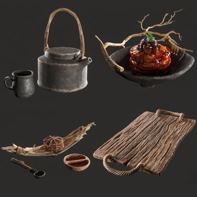 現代餐盤調羹碗茶壺茶具組合3D模型【ID:927834367】