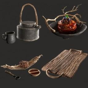 现代餐盘调羹碗茶壶茶具组合3D模型【ID:927834367】