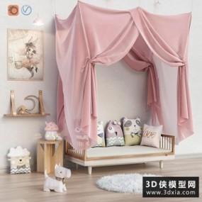 儿童床装饰品组合国外3D模型【ID:729294982】
