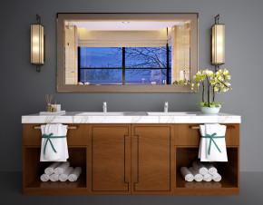 新中式洗手台卫浴柜3D模型【ID:927821415】