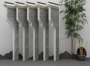 新中式牌坊马头墙3D模型【ID:727808887】