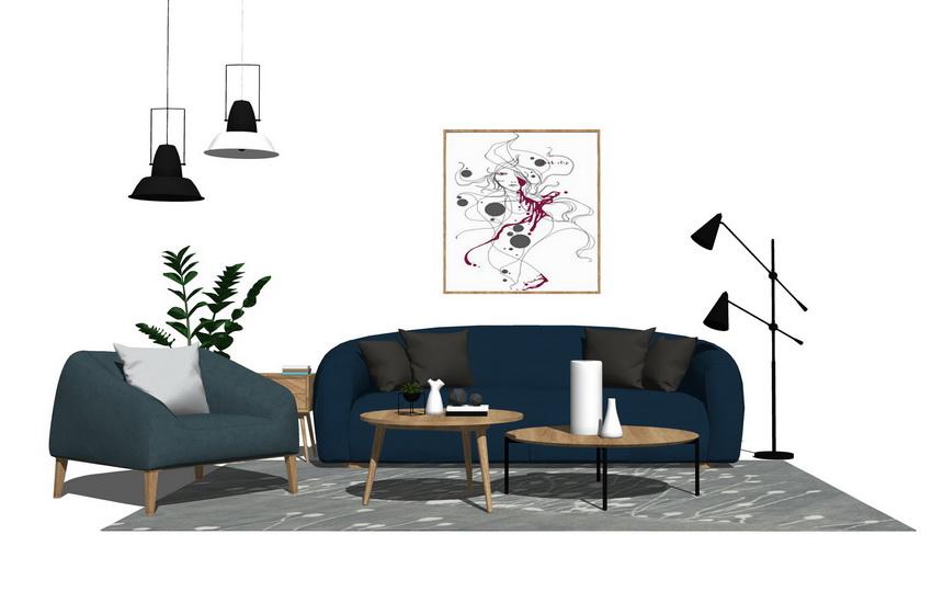 北歐風格客廳沙發茶幾吊燈組合SU模型【ID:437104132】