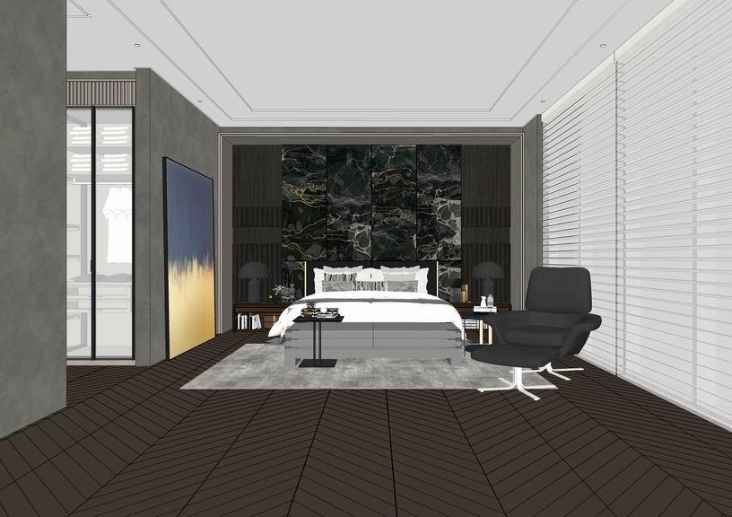 現代臥室室內設計SU模型【ID:937104837】