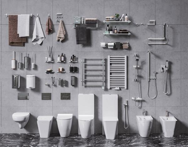 现代毛巾淋浴喷淋卫生间用品组合3D模型【ID:647180463】