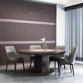 卡翡亚KAVIAR现代餐桌椅组合3D模型【ID:327925415】