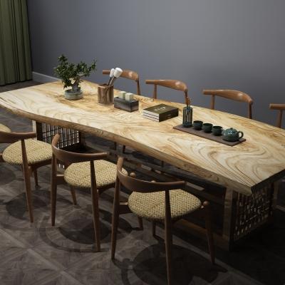 中式茶桌椅茶具組合3D模型【ID:327790670】