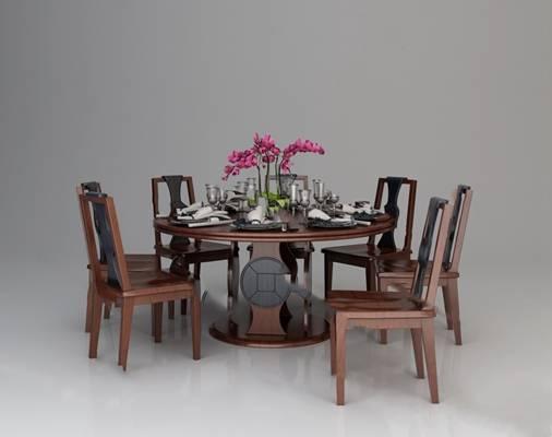 餐桌椅组合3D模型【ID:120025850】