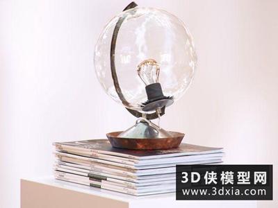 現代球形台燈国外3D模型【ID:829392976】