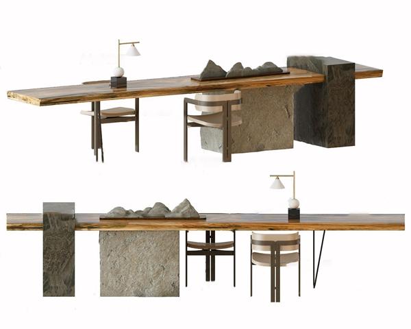 新中式實木泡茶桌椅3D模型【ID:245514486】