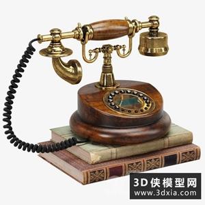 歐式復古電話國外3D模型【ID:929320532】
